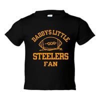 Daddys Little Steelers Fan Toddler And Youth T-Shirt Pittsburgh Fans Printed Tee for Kids Creepers & T-Shirts. Makes a Great Gift!!