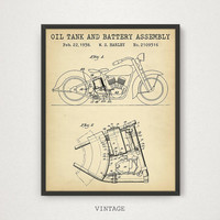 Motorcycle Poster, Oil Tank and Battery Assembly Patent Print, Harley Davidson Motorcycle Parts, Vintage Motorbike Gifts, Man Cave Decor