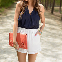 Two Tone Romper, Navy/White