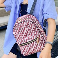 DIOR Hot Sale Classic Embroidered Jacquard Backpack Fashion Lady Backpack School Bag