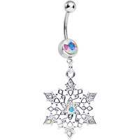 Aurora Gem Delicate Winter Snowflake Dangle Belly Ring   Body Candy Body Jewelry