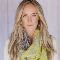 Leopard Infinity Scarf with bright Yellow Color Block Accents Summer Lightweight Scarf bright yellow leopard infinity