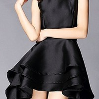 Sophisticate Black Sleeveless Scoop Neck High Low Mini Midi Tiered Ruffle Dress