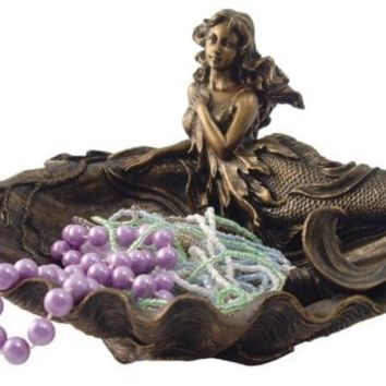 7.5 Inch Cold Cast Bronze Mermaid Seated in Shell Jewelry Tray