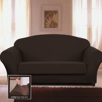 Chezmoi Collection Glen 2-Piece Black Micro Suede 4-Way Stretch Slipcover Box Cushion Loveseat