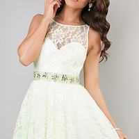 Short Lace Ivory Party Dress by Dave and Johnny
