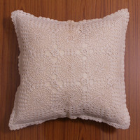 CROCHET PILLOW COVER, Handmade crochet Cushion Cover, Decorative Throw Pillow, Home Decor - Chakra Theme Design, White and Natural Color
