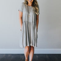 Grey Baby Doll Dress