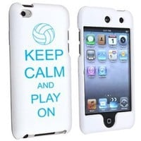 Apple iPod Touch 4th Generation White Rubber Hard Case Snap on 2 piece Light Blue Keep Calm and Play On Volleyball