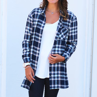 Plaid Love Flannel {Navy+Cream}
