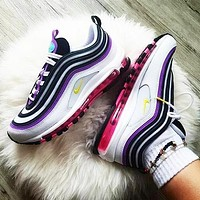 Nike Air Max 97 Women Casual Air Cushion Running Sport Shoes Sneakers White&Black&Purple