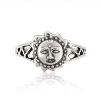925 Sterling Silver Celtic Sun Face Vintage Style Ring - Nickel Free Size 8