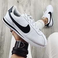 Nike Classic Cortez Forrest Sports Shoes Classic Shoes Leisure Sneakers white (Black hook)
