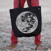 The Moon Tote Bag - Black and White Lunar Print on Cotton Canvas