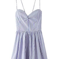 Blue Striped Spaghetti Straps Backless Mini Dress