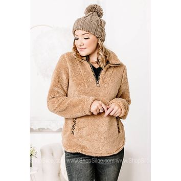 It's The Little Things Cheetah Detailed Sherpa Pullover