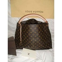 Louis Vuitton fashion house sells printed leather handbags for women
