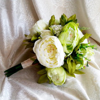 Best quality green and creme silk flowers peonies wedding BIG bouquet satin Handle, greenery natural