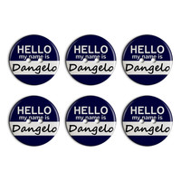 Dangelo Hello My Name Is Plastic Resin Button Set of 6