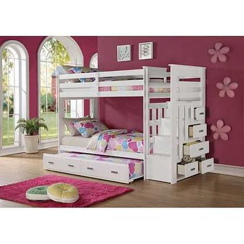 """97"""" X 43"""" X 68"""" Twin Over Twin White Storage Ladder And Trundle  Bunk Bed"""