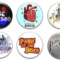 """6 New Panic At The Disco 1.25"""" Pinback Button Badge Pin Set One"""