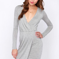 LULUS Exclusive Wrap Party Heather Grey Long Sleeve Dress