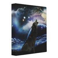Wolf howling at the moon binders from Zazzle.com