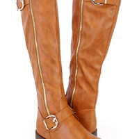 Camel Thigh High Riding Boots Faux Leather