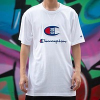 Champion New fashion embroidery letter logo couple top t-shirt Black