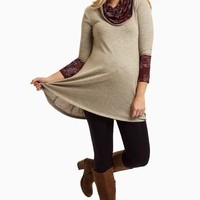 Burgundy-Floral-Accent-Knit-Cowl-Neck-Top