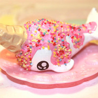 Kawaii cute chibi Ice Cream Narwhal with sprinkles on top