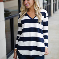 Anchors Away Striped V-Neck Top