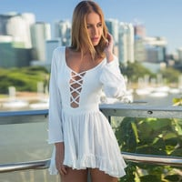 White Long Sleeve Front Cross Cut Out Chiffon Mini Dress