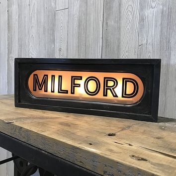 Milford | Vintage Lighted Railroad Lighted Box Sign | 22-in