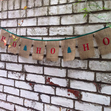 Christmas Ho Ho Ho banner in burlap and satin, festive photo prop ideal decoration hessian