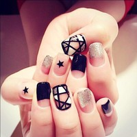 24pcs Black Curved Sliver False Nails Long Square Full Artificial Star Designs Fake Nail Tips with 1PC Glue Sticker