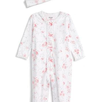 Little Me 'Rose Swirl' Footie & Hat (Baby Girls) | Nordstrom