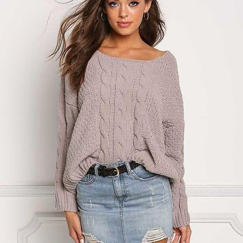 Taupe Soft Cable Knit Sweater Top