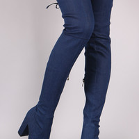 Drawstring-Tie Chunky Heeled Over-The-Knee Fitted Denim Boots