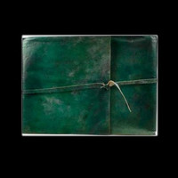 Green Scroll Genuine Leather Blank Journal with cord