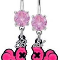 Pink Cz Best F^cking Friends Pink Heart Dangle Belly button Navel Ring piercing bar body jewelry 14g