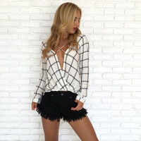 Well Crafted Plaid Cross Over Blouse