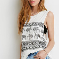 Longline Tribal-Inspired Elephant Muscle Tee