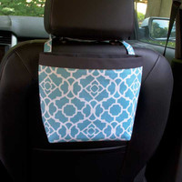 Car Headrest Caddy ~ Aqua Lattice ~ Charcoal Gray Band