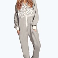 Rose Heart Aztec Fleece Hooded Onesuit