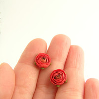 Tiny red ranunculus polymer clay earrings - polymer clay jewelry - stud earrings - floral earrings