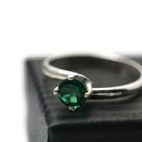 Emerald Ring, Simple Engagement Ring, Sterling Silver Twist Ring, Green Gemstone Ring
