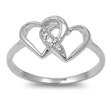 Double Heart Sterling Silver Ring