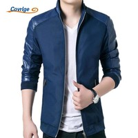 Trendy Covrlge Jacket Men Spring Jackets and Coats for Men 2017 Casual Stand Collar PU Leather Patchwork Coat Fashion Clothing MWJ034 AT_94_13