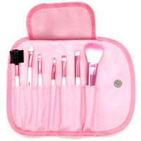 PuTwo Make up Brushes 7 Pcs Set Travel Essential Cosmetic Makeup kit with Pouch Bag - Pink